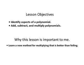 Keynote presentation of adding subtracting and multiplying polynomials