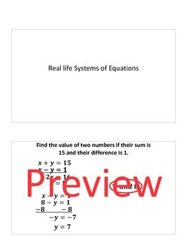 Keynote: solving systems of equations with 2 variables--real life examples