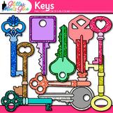 Key Clip Art | Rainbow Glitter Graphics for Growth Mindset and Keyword Use