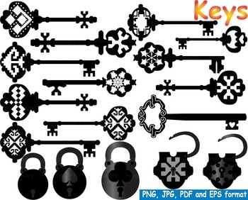 Keys Silhouette Clip Art Black Skeleton Vintage Retro Antique Heart locks -149-