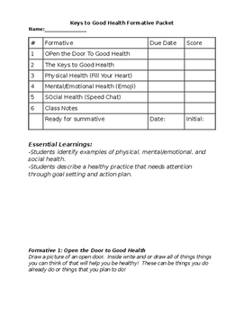 Keys to Good Health Packet
