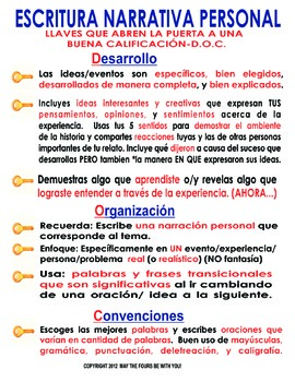 Keys to a  Good Score Personal Narrative in Spanish