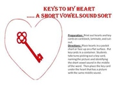 Keys to my Heart - A middle short vowel sound sort