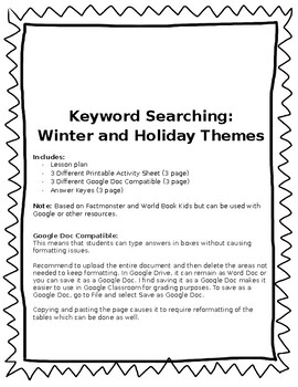 Keyword Searching: Winter and Holiday Themes