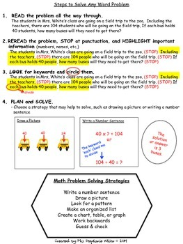 Keywords, Steps, and Strategies for Solving Math Word Problems