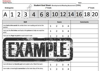 Kg Student Reading Goal Sheet- DRA reading