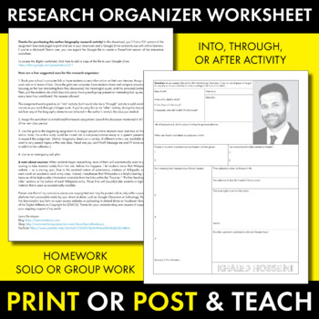 Khaled Hosseini Author Study Worksheet, Easy Biography Activity, CCSS
