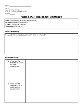 AP US Government Khan Academy Video Worksheet #1 The social contract