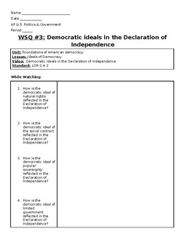 AP US Government Khan Academy Video Worksheet #3 Declaration of Independence
