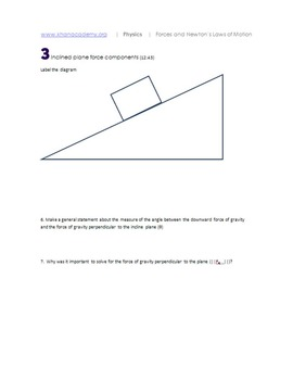Khan Academy Friction & Incline Planes printable notes and practice