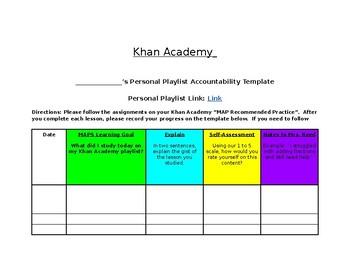 Khan Academy NWEA MAPS Accountability Template (Google Classroom)