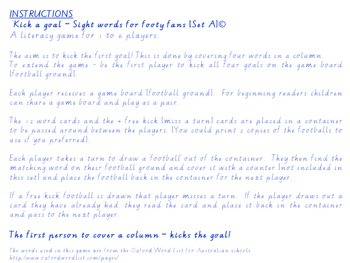 Kick a goal - sight words for footy fans [Set A]