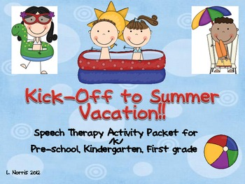 Kick Off To Summer Vacation Speech Therapy Activity Packet K Sound