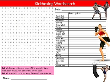 Kickboxing Wordsearch Sheet Starter Activity Keywords PE Sports Fitness