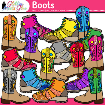 Cowboy and Mountain Boots Clip Art {Wild West Graphics for