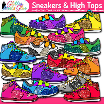 High Top Sneaker Clip Art {Great for Back to School Classroom Decor & Brag Tags}