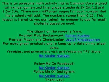 Kicking Off Addition Adding 0-10 Common Core Aligned Math Worksheets