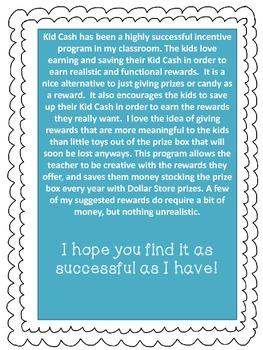 Kid Cash - Incentive Program for Student Achievement (sea creatures theme)