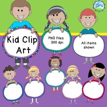 Kid/Children Clip Art - holding doodle frames - commercial use ok