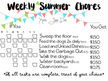 Kid Chores Chart and Routine