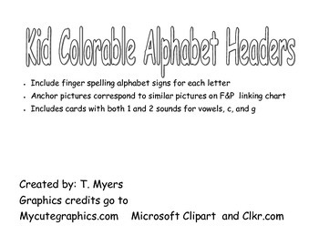 Kid Color-able Alphabet Wall Headers