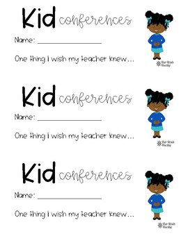 Back to School Kid Conferences