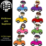Kid Drivers with Sunglasses Clip Art