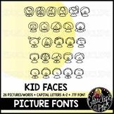 Kid Faces Picture Font {Educlips Clipart}