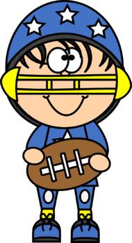 Kid Football Players and Cheerleaders Clip Art
