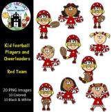 Kid Football Players and Cheerleaders Red Team Clip Art