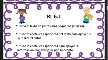 Kid-Friendly 6th Grade Common Core Reading Standards in English and Spanish