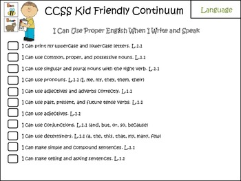 Kid-Friendly Common Core Language Checklists K-3