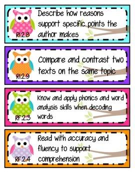 Kid-Friendly Common Core Standard Cards--Grade 2! {Bright Owls Theme}