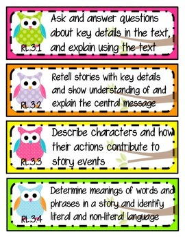 Kid-Friendly Common Core Standard Cards--Grade 3! {Bright Owls Theme}