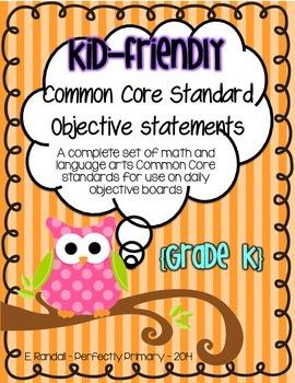 Kid-Friendly Common Core Standard Cards--Grade K! {Bright