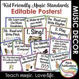 Kid Friendly Elementary Music Standards Posters - Custom - Editable