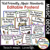Kid Friendly Elementary Music Standards Posters - Custom - Editable