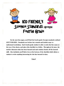 Kid Friendly Fourth Grade GA Science Standards
