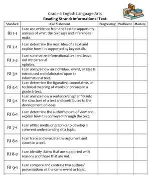 Kid-Friendly I Can CCSS Grade 6 ELA Checklists for Student Notebooks