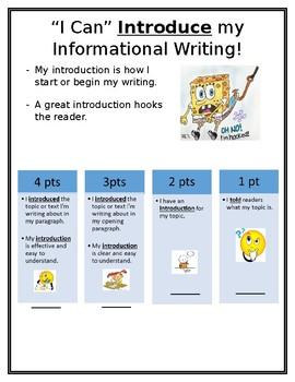 Kid Friendly Informational Writing Rubric