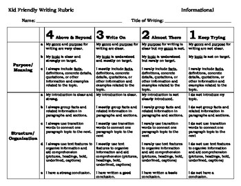 Kid Friendly Informational Writing Rubric