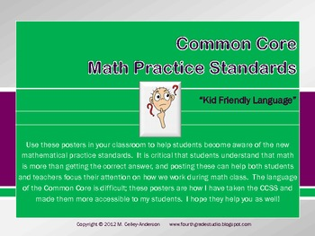 """Kid Friendly"" Math Practice Standards Posters"