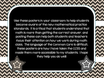 """""""Kid Friendly"""" Math Practice Standards Posters Black and White Chevrons"""