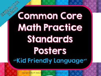 """Kid Friendly"" Math Practice Standards Posters Rainbow Dots"