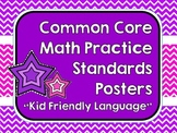 """Kid Friendly"" Math Practice Standards Posters Bright Chevrons"