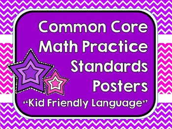 """""""Kid Friendly"""" Math Practice Standards Posters Bright Chevrons"""