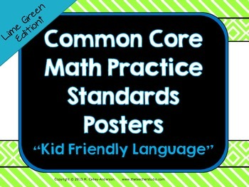 """Kid Friendly"" Math Practice Standards Posters ""Lime"""