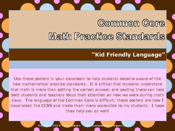 """""""Kid Friendly"""" Math Practice Standards Posters chocolate/pastel dots"""