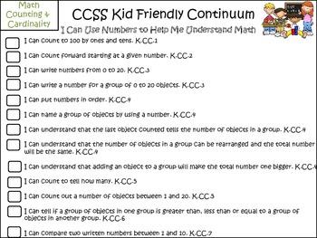 Kid-Friendly Math Progression Checklists k-3