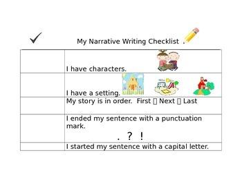 Kid Friendly Narrative Writing Checklist